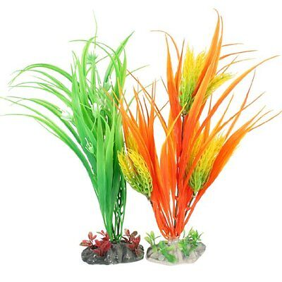 Sourcingmap Plastic Aquarium Plant Decor, 14.2-inch, 2 Pieces, Green  Orange