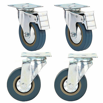 4 X Heavy Duty 100mm Rubber Swivel Castor Wheels Trolley Caster Brake 600KG Cyan