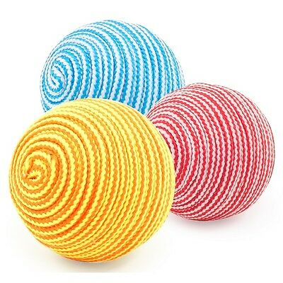 Ancol Cat Balls - 3 Pieces Per Pack Red, Blue & Yellow Kitten Textured Toy Ball