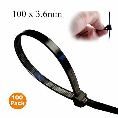 100 x Black Releasable Cable Ties 100mm x 3.6mm Reusable Wire Tidy Zip Straps