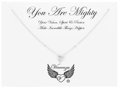 Silver plated You Are Mighty Inspirational Message Card Necklace Jewellery Gift