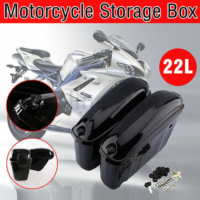 NEW A Pair Motorcycle Cruiser Hard Trunk Saddle Bag Box Side Storage Luggage 22L
