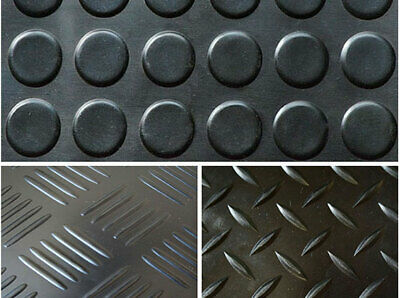Black 4MM or 3MM Thick Rubber Floor Matting 50CM-3M Long Choice of Design