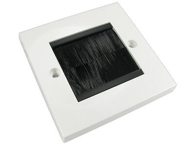 Single Gang white Wall socket with black dust  Brush