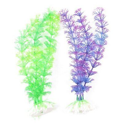 sourcingmap 2 Pcs Aquarium Ornament Ceramic Base Plastic Grass Plant 8.7  Long G