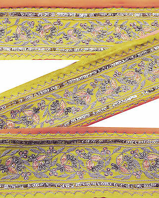 Vintage Indian Sari Border Used 1YD Embroidered Trim Women Yellow Ribbon Lace