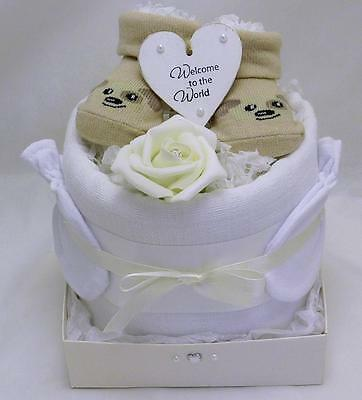 Neutral Nappy Cake New Baby Shower Maternity Gift