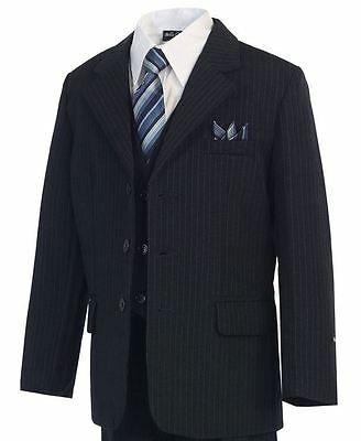 Navy w/ Pinstripe Boys Suits Set, Kids Formal Occasion Wear, Sizes 2T - 20