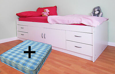 Childrens Single White Cabin Bed + Mattress Uk Made Free Delivery (R236+R233W)