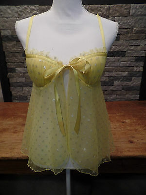 Victoria's Secret Sexy Little Things Camisole Lacy Yellow Polka Dot Shimmer 34 B