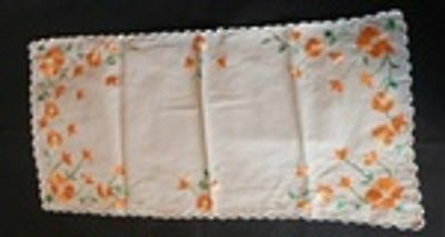6 Place Setting Floral Embroidered Napkins - Place Mats and Centre Runner