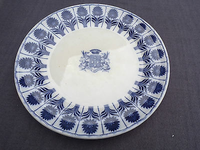 grand plat rond en porcelaine minton china aster et blason maison toy paris