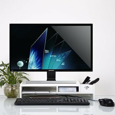 Desktop Monitor Stand Computer Screen Riser Rack Wood Shelf Plinth TV LCD Laptop