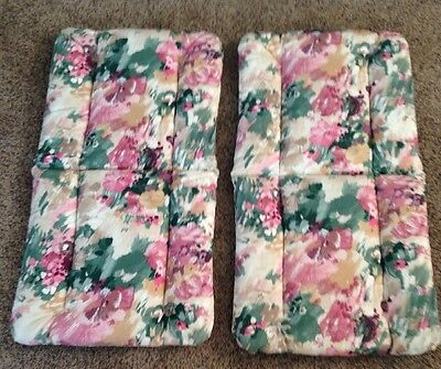 set of 2 mid back Patio Dining Chair Cushions Retro 1990s Floral Pink Burgundy