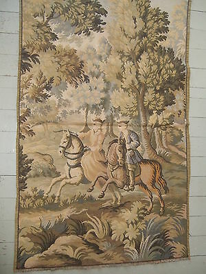 Large antique Gobelin tapestry French horseman and horsewoman P