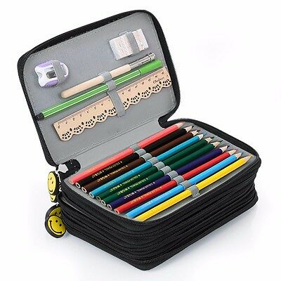 4 Layers Capacity Pencil Case Travel Cosmetic Brush Makeup Storage Bag 75 Holes