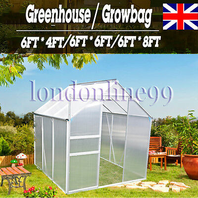 Aluminum Polycarbonate Greenhouse with Base/ Walk In Greenhouse Frame/ Growbag