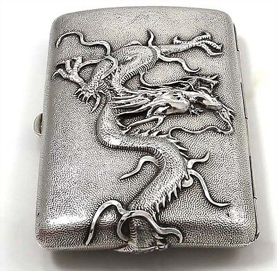 Chinese Silver Cigar Cigarette Case APPLIED DRAGONS by LUEN HING