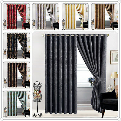 "Ring Top New Jacquard  Pair Curtains Fully Lined Eyelet Tape 66""x72"" & 90""x90"""