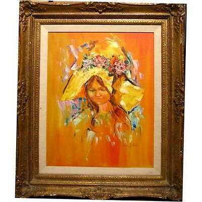 """Untitled (Girl in Orange) by Rita Asfour, Oil on Canvas, 34.5"""" x 29.5"""", Signed"""