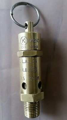 "F.C. Kingston Safety Relief Valve 1/4"" - 25 psi air pressure   relief valve USA"