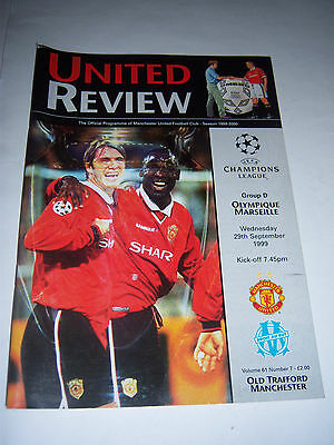 MANCHESTER UNITED v OLYMPIQUE MARSEILLE 1999/2000 - CHAMPIONS LEAGUE - PROGRAMME