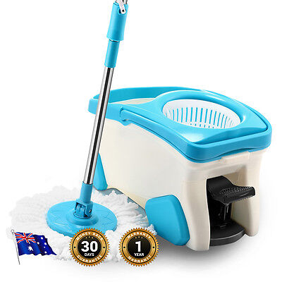 NEW 360° Spin Mop Dual Drives Wet & Dry, 2x Microfiber Cleaning Heads, 9 Litres