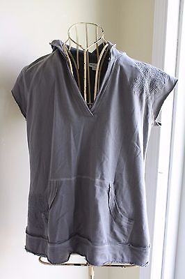 Mimi Maternity gray hoodie sweatshirt size Large NWT cap sleeve embroidered B27