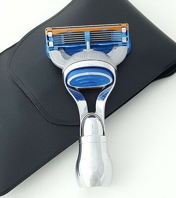 Mini Gillette Fusion Travel Shaving Stainless Steel Handle Razor with Pouch Case