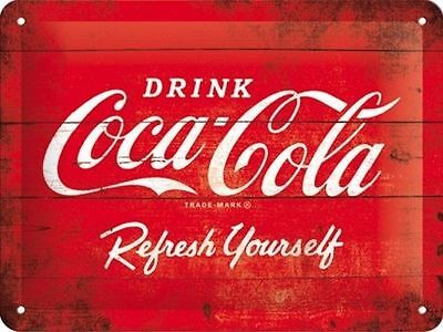 Coca Cola - Red Metal Embossed Sign - Protected Product