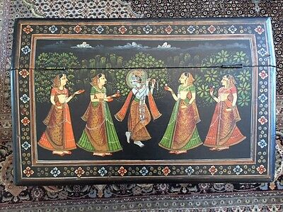 Hand Painted Beautiful Antique/Vintage Small India Cabinet, Krishna w/ Flute