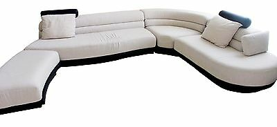 Mid Century Modern Vladimir Kagan Preview Black and White Retro Sectional Couch