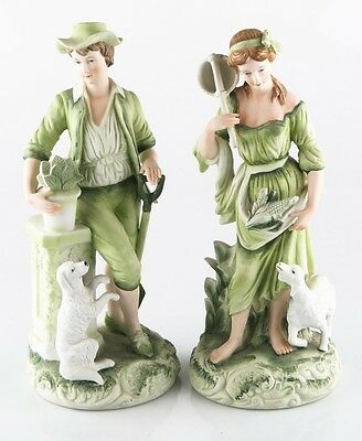 """Girl with Lamb"" and ""Boy with Dog"" by Andrea by Sadek #7656 Green Hand-Painted!"