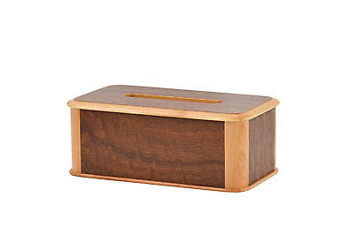 Wooden tissue box cover. Cherry and ???. NEW!