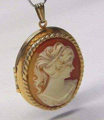 Vintage woman cameo locket gold colored antique celluloid Avon pin