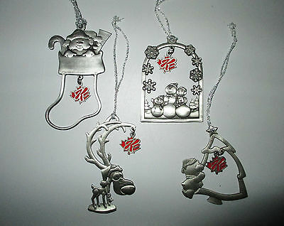 4 Pewter Christmas Ornaments Special K Canada Reindeer Snowmen Stocking Boxed