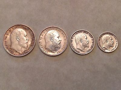 - Great Britain 1903 Edward VII Silver Maundy Set Uncirculated Unc