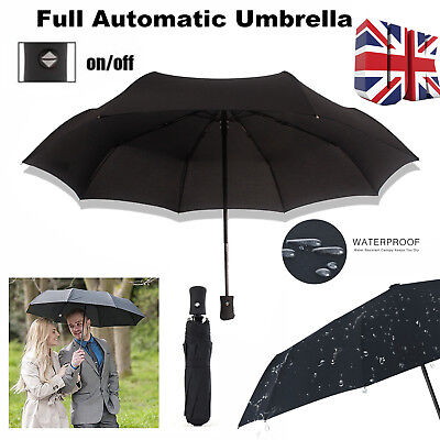 Strong Auto Open & Close Windproof/Sun Tri-folded Folding Telescopic Umbrella UK