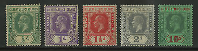 Gilbert & Ellice Islands   1921-27   Scott # 27-31   Mint Lighty Hinged Set