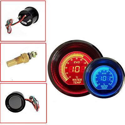 "Red & Blue 2"" 52MM Digital LED EVO Water Temperature Meter Gauge for Car Motor"