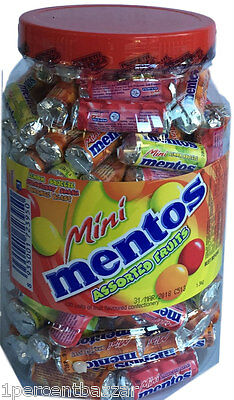 approx. 260 rolls of Mentos Mini Assorted Fruit 2 x 1.3kg Jar Party Office