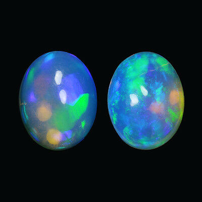 2.93Cts Natural White Welo Ethiopian Opal Pair Top Fire Gemstone Oval Cabochon