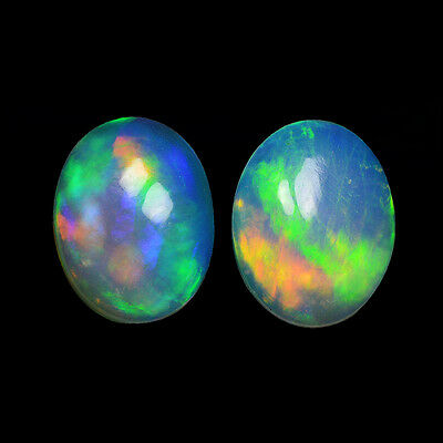 2.19Cts Natural White Welo Ethiopian Opal Pair Top Fire Gemstone Oval Cabochon