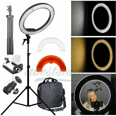 "Studio LED 50W 19"" Ring Light +2M Reverse Stand Photo Video Selfie Makeup Beauty"