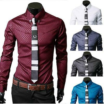 Luxury Men's Stylish Casual Shirt Slim Fit Formal Dress Long Sleeve Button Tops