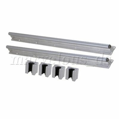 6x Silver BQLZR 12mm Shaft 500mm Linear Bearing Rail w/ Open Linear Motion Block