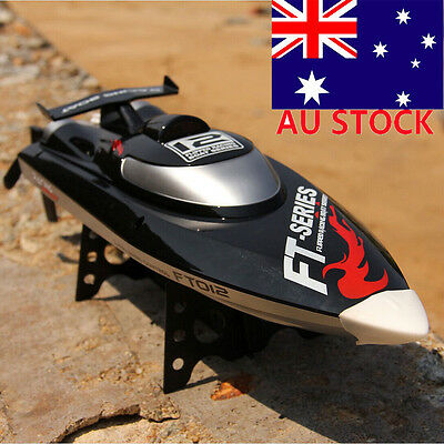 FT012 Upgraded FT009 2.4G 4CH Brushless RC Racing Boat High Speed 45km/h Black