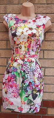 River Island White Multi Color Floral Puffball Tulip Padded Shoulder Dress 8 S