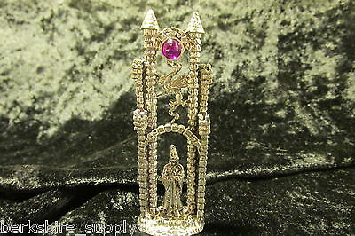 Finely Detailed Pewter  Wizard Castle With Austrian Crystal