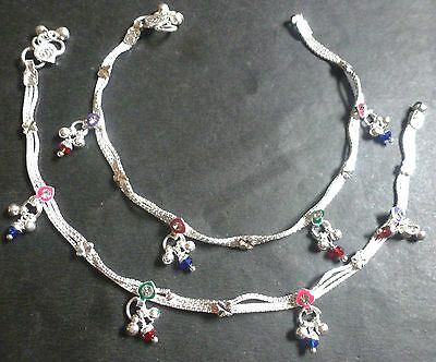 """Indian Silver Plated 10"""" Payal Foot CZ Stone Design Chain Light Anklet Set i"""